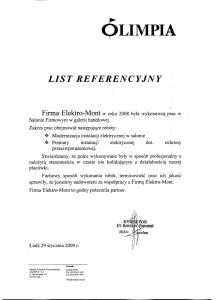 """15. Referencje - ZPDZ """"OLIMPIA"""" S.A. - Łódź"""
