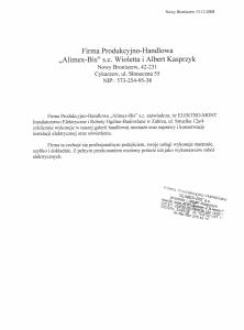 19. Referencje - Alimex-Bis s.c. - Nowy Broniszew