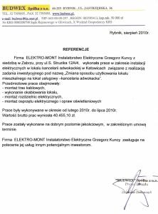 3. Referencje - Budwex Sp. z o.o. - Rybnik